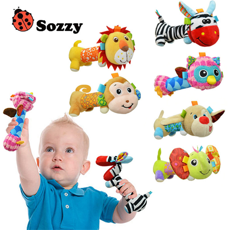 Sozzy Soft Baby Plush Toy Safe Distorting Mirror Crinkle Sound Multicolor Cute Animal Lion Owl Dog Elephant