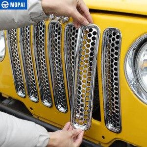 Image 2 - MOPAI Per Jeep Wrangler TJ 1997 2006 Anteriore Della Maglia Inserto Griglia di Copertura Trim Auto Esterno Decorazione ABS Adesivi Per Auto Auto styling