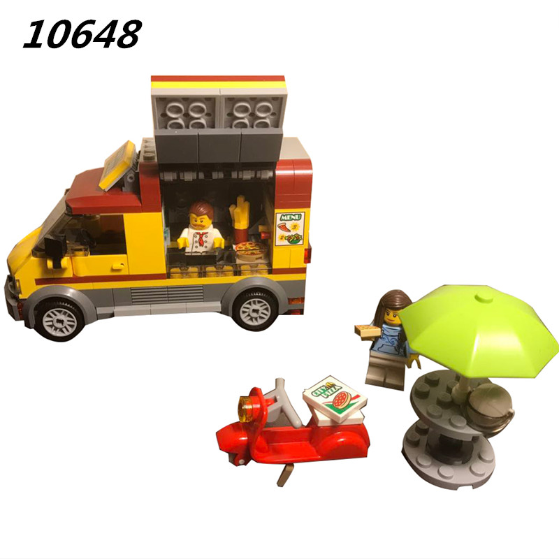 10648 261Pcs City Figures Pizza Van Model Building Kits Blocks DIY Bricks Toys For Children Gift Compatible With 60150 lepin city town city square building blocks sets bricks kids model kids toys for children marvel compatible legoe