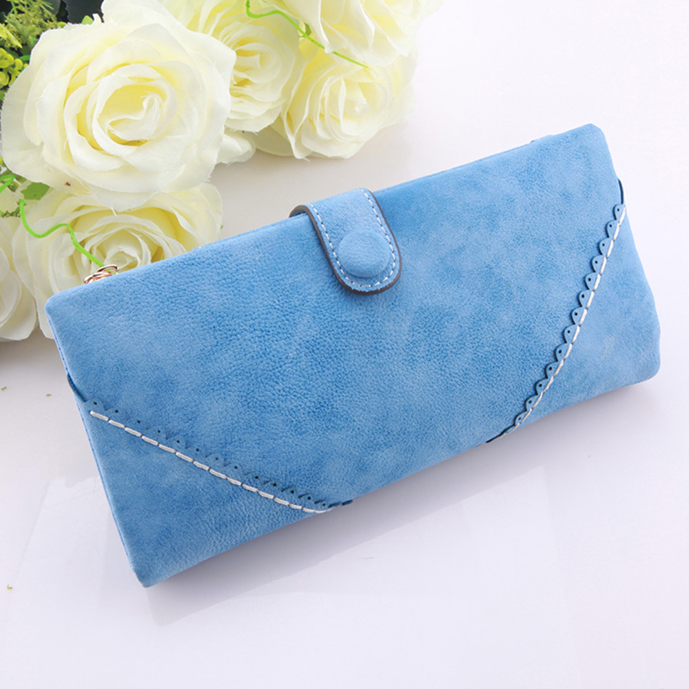Купить с кэшбэком 9 Color Korean Style Retro Women Wallets Frosted Hasp Women's Purse  Long Design Zipper Ladies Wallet  PU Leather Card Holder