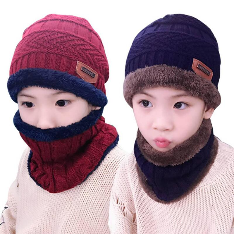 Child 2pcs super warm Winter balaclava wool Beanies Knitted Hat and scarf for 3-12 years old girl boy hats 1