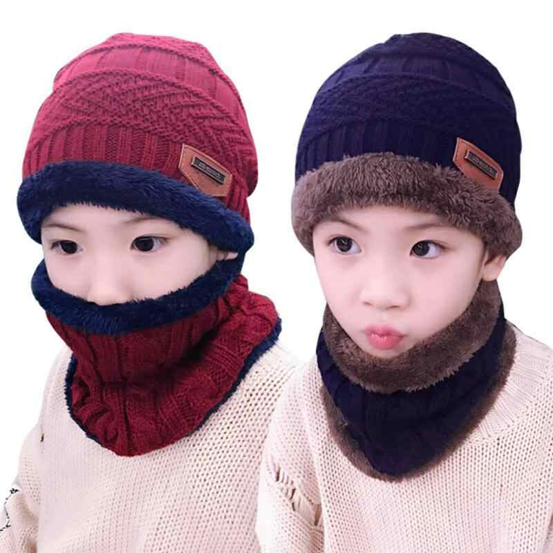 ... 2019 caliente niño 2 piezas súper cálido invierno pasamontañas de lana  sombrero de punto sombrero y ... 5dc019ed4d7
