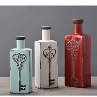 American retro Sadler keys square small mouth ceramic vases table top ornaments and ornaments (without flower) LU713146