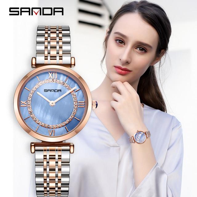 2019 Yeni Sanda Izle kadın Su Geçirmez Gül Altın Çelik Moda Trendi kadın Izle Kore Marka quartz saat