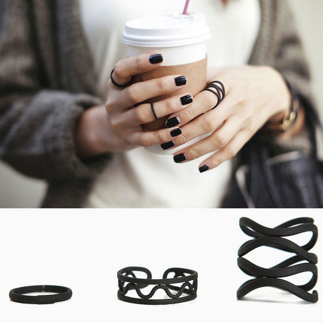 Black Swirl Fashion Jewelry Ring Sets