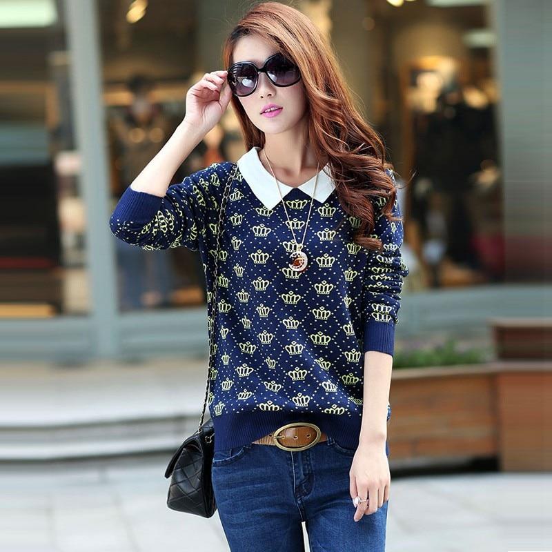 Fashion Design Peter Pan Collar Woolen Sweater For Women Woolen