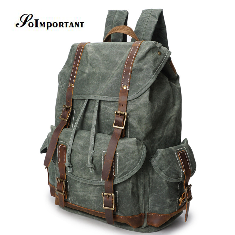 New Vintage Oil Wax Canvas Genuine Leather Backpack Female Teenage Men Male Travel Backpacks Laptop Bag Women Bagpack Mochila oil wax canvas backpacks for women and men classic vintage leather bookbags school bag college travel green backpack