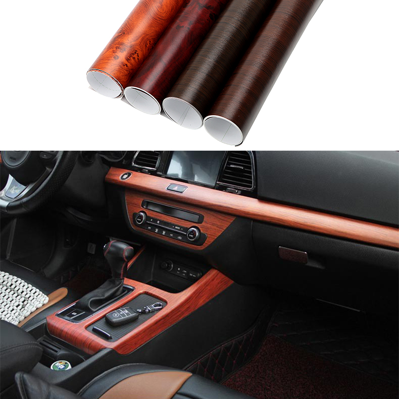 30x100cm Color Change Wood Grain Vinyl Film Furniture Wood Grain Textured Decal Car Internal Self-adhesive Sticker Car Styling