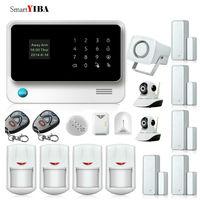 SmartYIBA 2.4g wifi охранной сигнализации GSM SIM сигнализации дома IOS приложение управления Android Камера детектор утечки газа дым противопожарной защи
