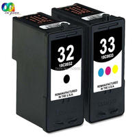 2PK 32 33 Black Color Ink Cartridge HY Combo Set Compatible For Lexmark X7350 X5470 X5450