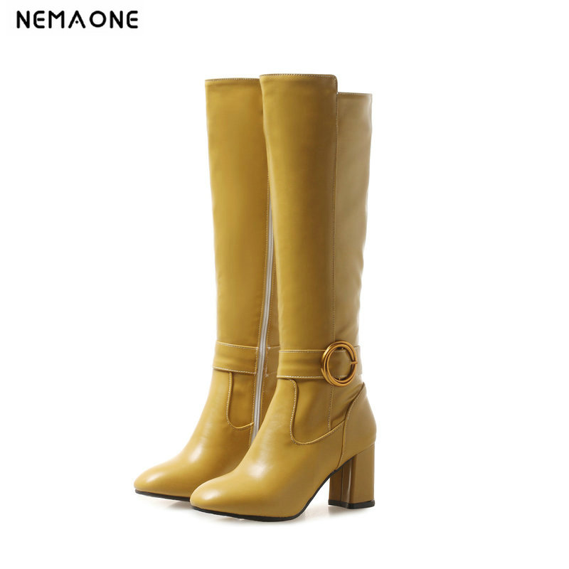 NEMAONE New high heels knee high Boots woman black pink green yellow autumn Winter Ladies party dress shoes Woman boots nemaone fashion women s lace up knee high boots lady autumn winter high heels shoes woman platform yellow black white high boots
