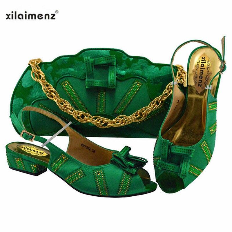اللون الأخضر الأفريقي السيدات مع حقيبة مطابقة كعوب منخفضة الايطالية حذاء وحقيبة مجموعة للحزب و الزفاف النيجيري أحذية و حقيبة-في أحذية نسائية من أحذية على  مجموعة 1