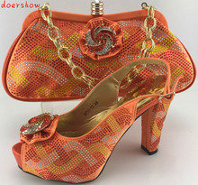 Africa Style doershow Shoe With Matching Bag Set Italy Woman HIigh Heels Shoes And Bag Set For Wedding Free Shipping  PME1-23