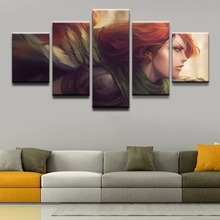 5 Panel Canvas Art Girl DOTA Role Modern Decorative Paintings on Wall for Home Decorations Decor Artwork