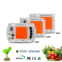 Hydroponice AC 220V 20w 30w 50w Led Grow Chip Full Spectrum 380nm 840nm For Indoor Plant