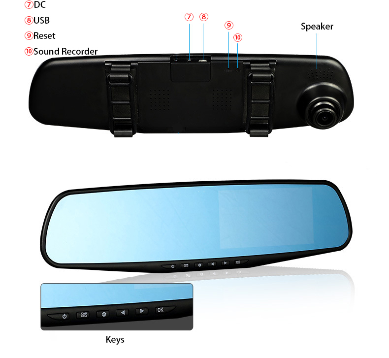 E-ACE Car Dvr 1080P Dual Lens Dash Camera Rear Mirror Digital Recorder With Rearview Camera Video Recorder Camcorder Registrar 22
