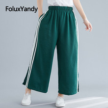 Striped Wide Leg Pants Women Loose Trousers Casual Ankle-length High Waist Pants Black Green NQYL129