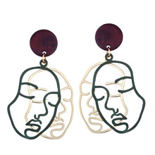 Hip Hop Abstract Stylish Metal Hollow Double Human Face Earrings For Women Girls Statement Drop Earrings Fashion Jewelry two tone hollow face design drop earrings