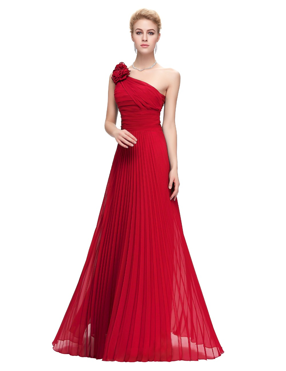 Grace Karin Chiffon Long Evening Dress One Shoulder Pleated Red Green Purple Royal Blue Formal Evening Dress Party Gowns 2018 12
