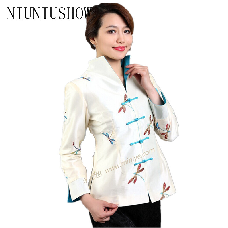 Hot Sale Beige Vintage Chinese Women's Silk Satin Jacket Coat chaqueta abrigo Long Sleeves Flower Size S M L XL XXL XXXL