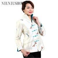 Sıcak Satış Bej Vintage Çin kadın İpek Saten Ceket Ceket chaqueta abrigo Uzun Kollu Çiçek Boyut Sml XL XXL XXXL