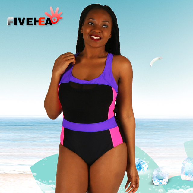 4c0c329fdb16a one-piece women swimwear sexy sling halter lace patchwork solid color large  size bathing swimsuit push up female purple