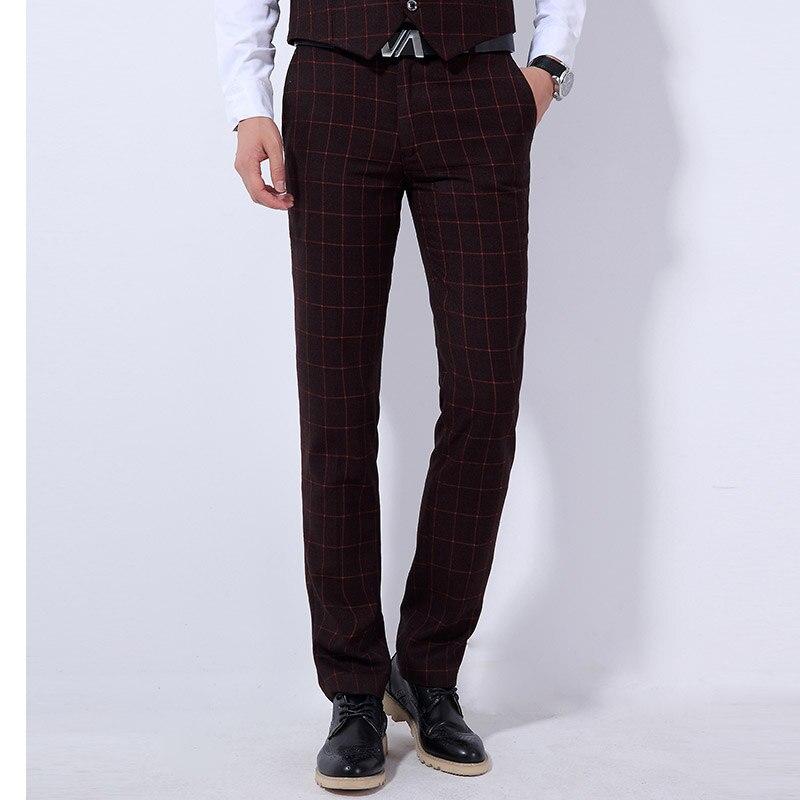 2018 Neue Herrenanzüge Hosen Größe 28 36 Blau Schwarz Grau Mode Business Casual Männer Plaid Hosen Dünne Elegante Männlichen Anzughose Heller Glanz