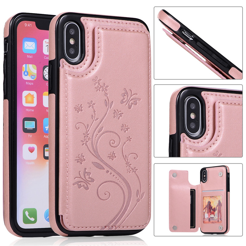 Tikitaka Butterfly Pattern Wallet Case For iPhone 7 8 Plus XR XS Max Magnet Leather Flip Cases For iPhoneX 7Plus 6 6S Plus Cover