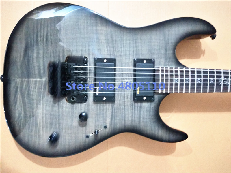 Production of high - grade ES electric guitar, black tiger veneer, closed pickups, one - piece connection
