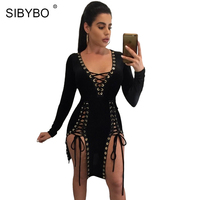 Sibybo Femmes Parti Robes 2017 Automne Col V À Manches Longues Lace Up Mini Robe Sexy Fendue Nuit Club Moulante Bandage robe