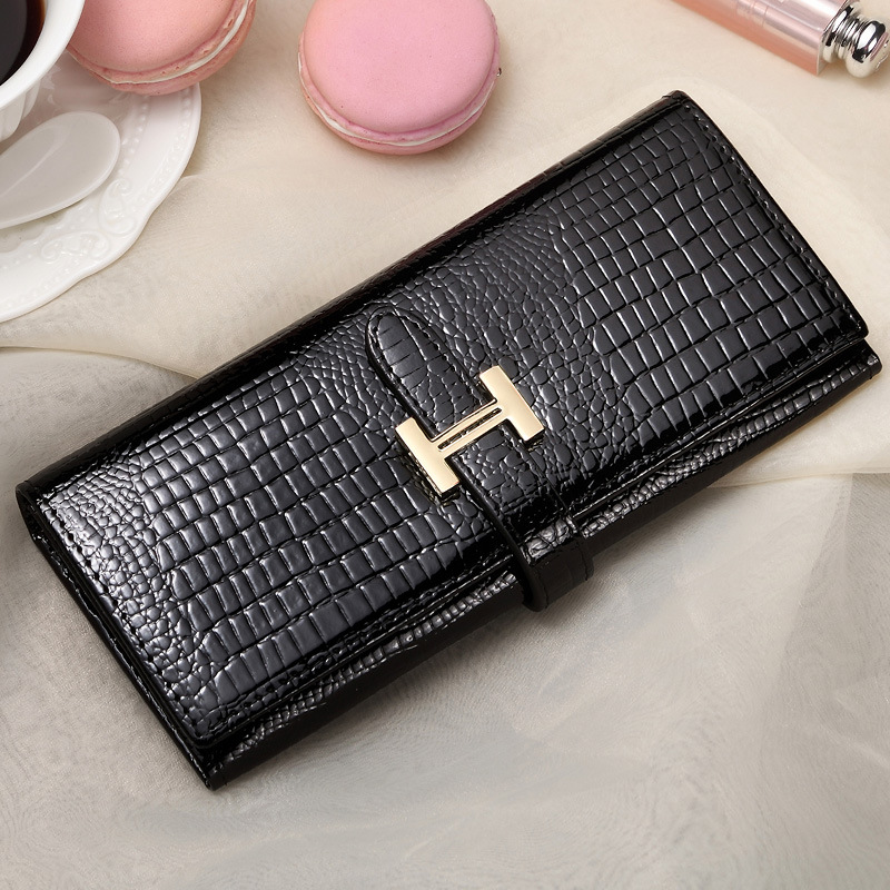 купить Luxury Long Genuine Leather Wallet Women bag Crocodile Pattern Women's Wallets Cowhide Bank Credit Card Holder Purse Coin Purse недорого