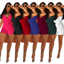 2019 Womens Summer Sexy Deep V-neck Ruffled One-piece Dress Fashion Casual Solid Color