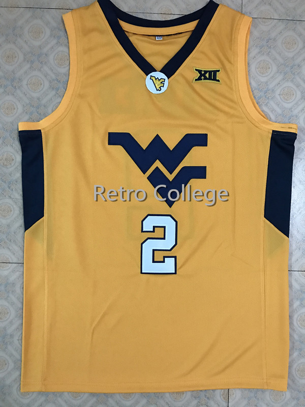 цена на #2 Jevon Carter West Virginia Mountaineers College Throwback Basketball Jersey Stitched embroidery any Number and name