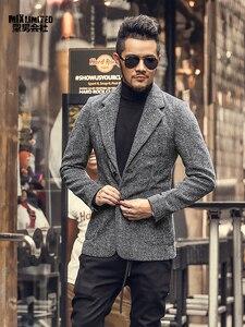 Image 2 - Casual Mannen Blazer Zakelijk Slim Fit Kostuum Homme Pak Blazer Masculino Mannelijke Wollen Jasje Blazer Hombres Ocasionales F196