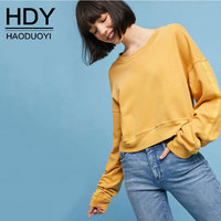 HDY Haoduoyi Women Jumper Female Yellow Oversize Cropped T Shirts 2017 Autumn Winter Harajuku Pullovers Casual