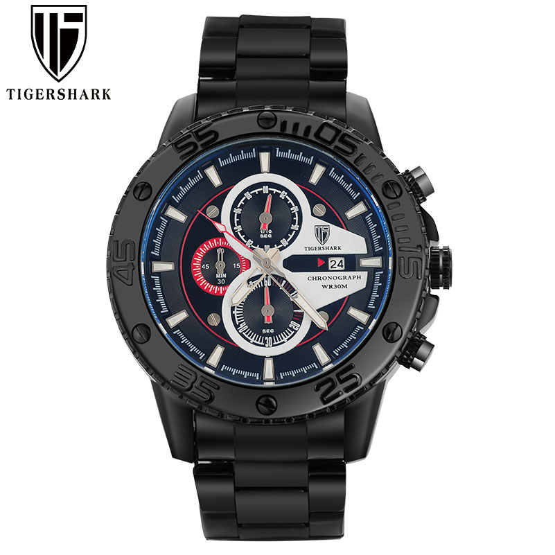 2016 new TIGERSHARK brand luminous black red dial watches men sport chronograph 30M waterproof date stainless