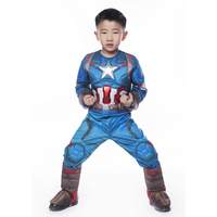 2016 New Arrival Deluxe Boys Avengers 2 Captain America Superhero Cosplay Party Clothing Kids Halloween Carnival