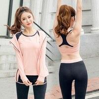 Yoga Sets Sports Suit Women Workout Gym Clothes T Shirt Bra Hoodies Shorts Leggings Set Yoga Suit Sport Jumpsuit 3 Colors