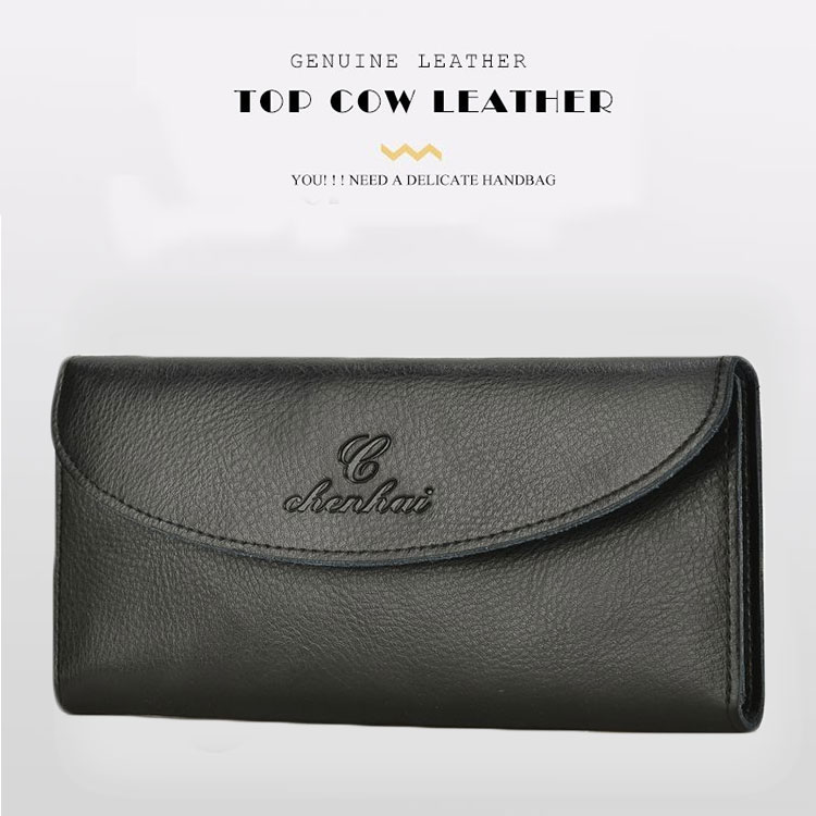 Fashion Cow Leather Men Wallet Women Genuine Leather Long Wallet Card Document Passcard Package Black 3 color