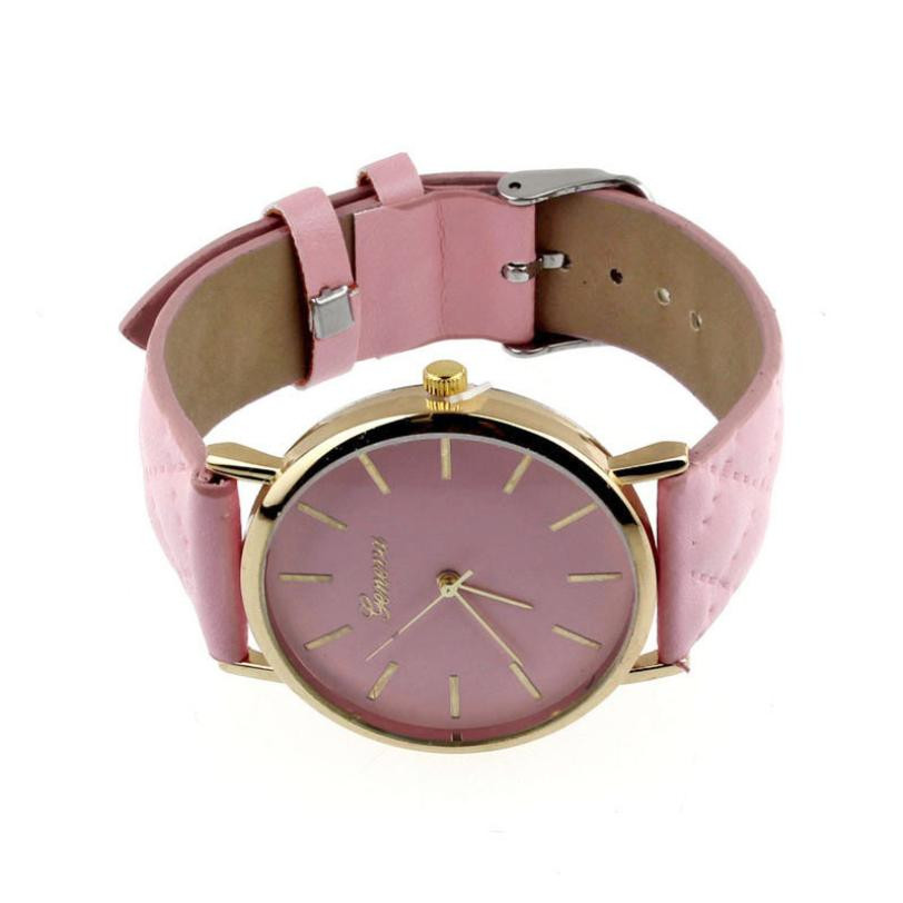 Checkers Faux Women Quartz Watch Pink Dial