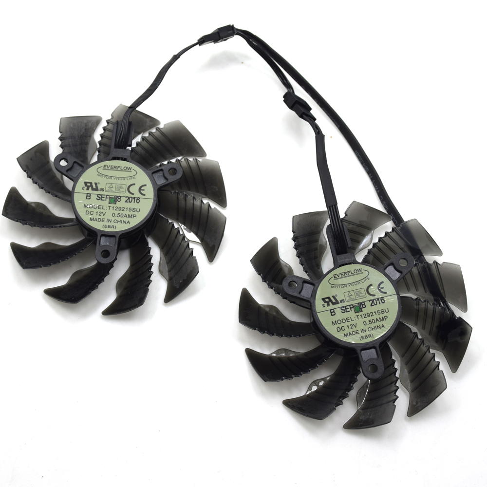 Everflow T129215SU 87mm For Gigabyte GTX1060WF2OC N1050OC-2GD GTX1050TI GTX1060 RX 580 12V 0.50A 4Pin Graphics Card Cooling Fan computador cooling fan replacement for msi twin frozr ii r7770 hd 7770 n460 n560 gtx graphics video card fans pld08010s12hh