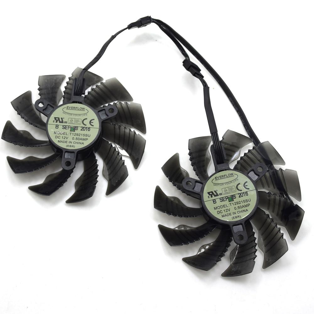 Everflow T129215SU 87mm For Gigabyte GTX1060WF2OC N1050OC 2GD GTX1050TI GTX1060 RX 580 12V 0 50A 4Pin