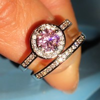 Stunning Hot Luxury Jewelry 10kt White Gold Filled Birthstone Pink 5A Cubic Zirconia CZ Crystal Wedding Women Bridal Ring Set