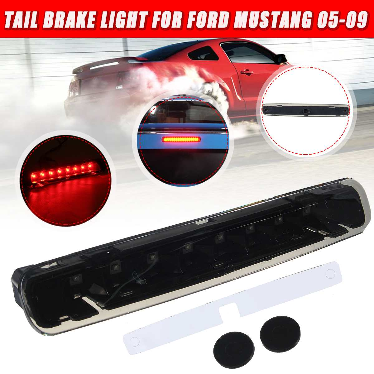 Car LED Third 3rd Brake Light Tail Stop Lamp Red Smoke For Ford/<font><b>Mustang</b></font> 2005 <font><b>2006</b></font> 2007 2008 2009 image