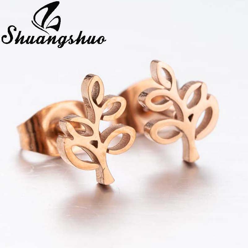 Shuangshuo ต้นไม้ของสแตนเลสต่างหู oorbellen ต่างหูแฟชั่น Rose Gold Stud ต่างหูหญิงเครื่องประดับของขวัญ