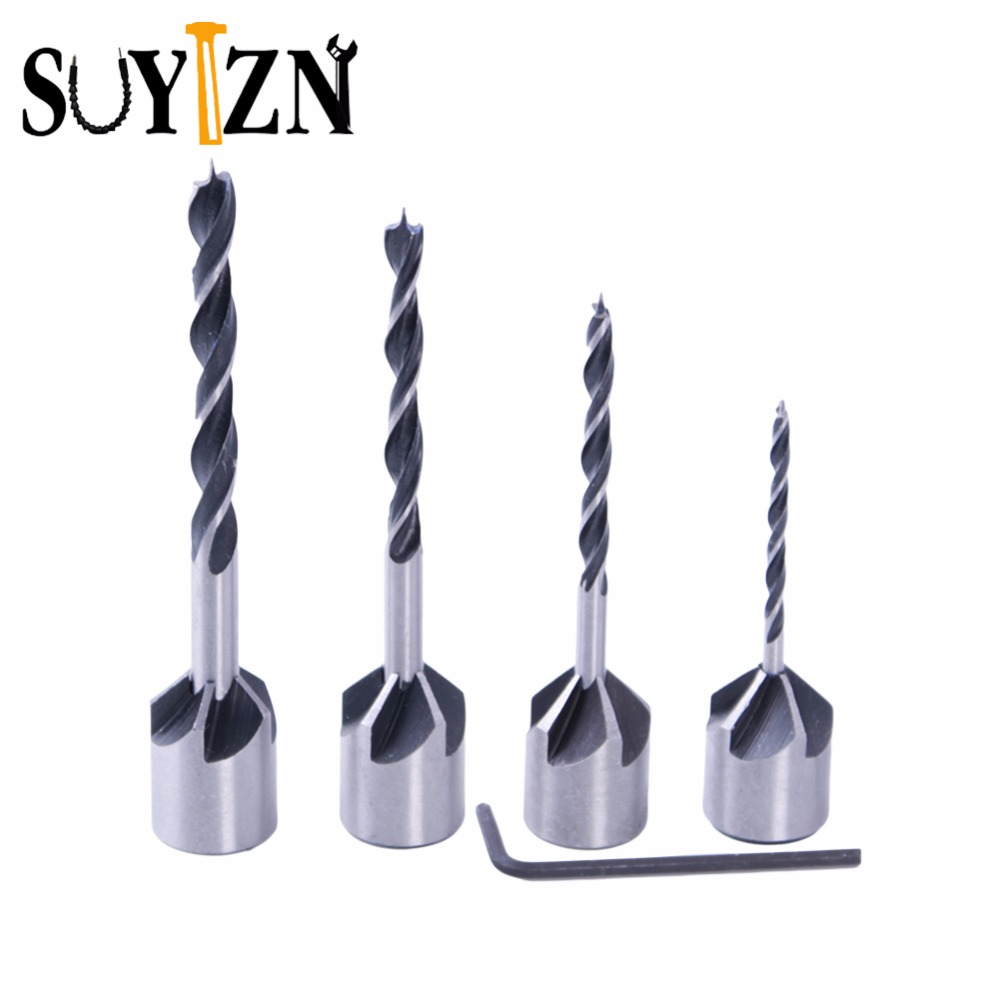 4pcs Wood Drill Set HSS 5 Flute Countersink Drill Bit Carpentry Reamer Woodworking Chamfer End Milling Wood Tool 3mm-6mm ZK74 hexbug микро робот aquabot angelfish цвет синий