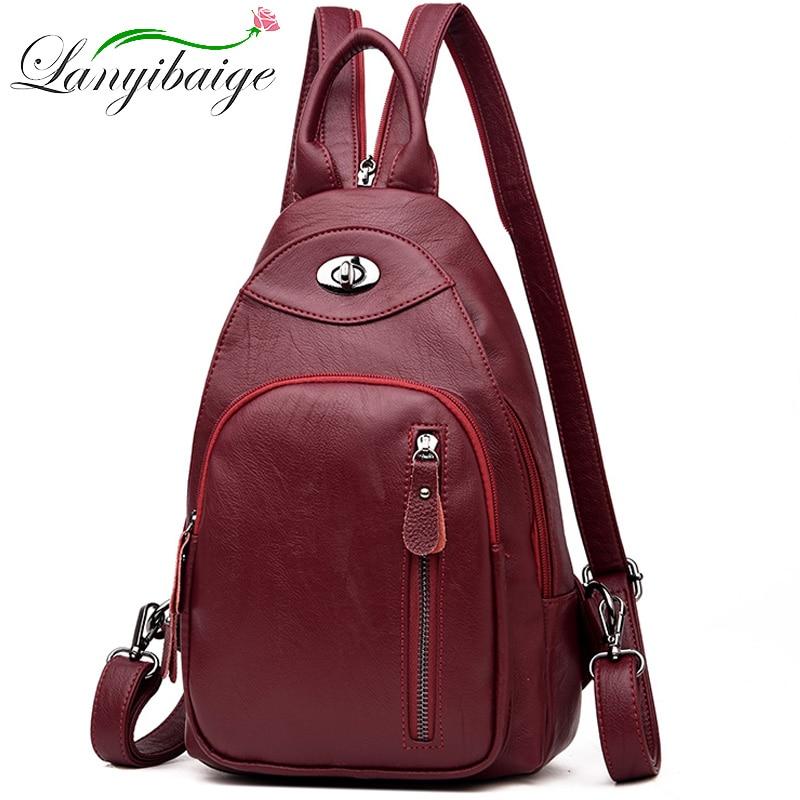 2019 Women Leather Backpacks Female Shoulder Bag Sac A Dos Ladies Bagpack Fashion School Bags For Girls Travel Back Pack New