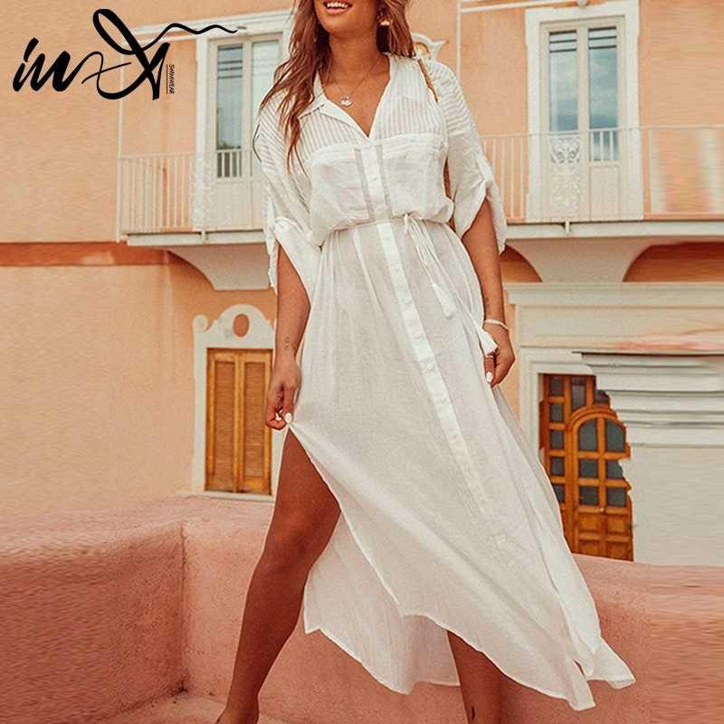 92e5196df4c4a In-X Bikini 2019 String Cover Up White Swimsuit female Beach Dress Women  Summer Ladies