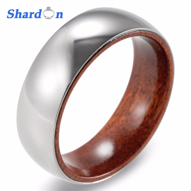 SHARDON 8mm Titanium Red Sandal Wood Inner Band Domed Ring Mens