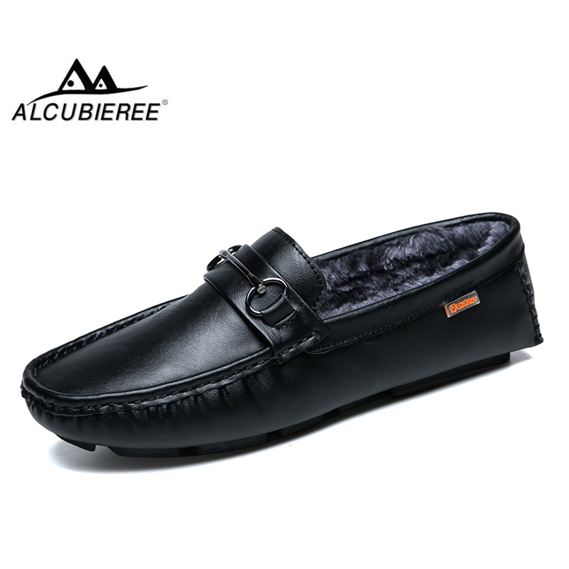 ALCUBIEREE 2018 Casual Shoes Winter Warm Fur Men Loafers Driving Shoes   Suede     Leather   Moccasins Flexible Slip On Flats Footwear